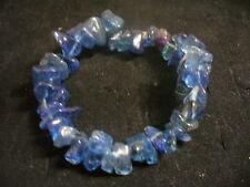 "Vintage Blue Glass Shard Bead 3"" Diameter Stretch Elastic Bracelet"
