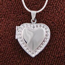 New 925 Silver Plated Heart LOCKET Photo Charm Pendant Chain Necklace & Gifts