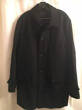 Lauren Ralph Lauren CASHMERE Black Lined WOOL Coat JACKET Peacoat M L 42R 44R