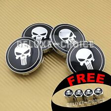 4 PUNISHER SKULL WHEEL CENTER CAP HUB 60mm for VW AUDI MINI BMW BBS HONDA FORD