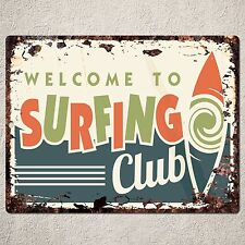 PP0047 Rustic Surfing Club Parking Plate Sign Bar Pub Cafe Restaurant Decor Gift