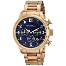 NEW NAUTICA BFD ROSE GOLD TONE, BLUE DIAL,CHRONOGRAPH BRACELET WATCH-N20118G