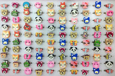 100pcs Wholesale Flower Bulk Animal Polymer Clay Children Kids Boys Finger Rings