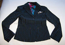 Playboy Bunny Ladies Black Blue Pinstripe Blazer Jacket Size 8 New