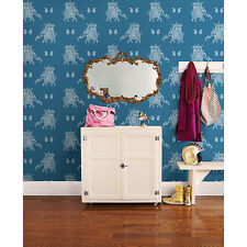 Kismet Fly Luxury & Exotic White Elephants on a Blue Background Wallpaper