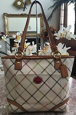 COACH HERITAGE MULTICOLOR IVORY TOTE/SHOPPER/SHOULDER BAG PURSE