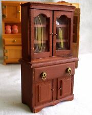 Dollhouse China Hutch Kitchen Dining Room Hutch Dish Cabinet Wood Miniature Doll