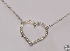 "Silvertone 17mm Open Heart CZ 16"" +2"" Necklace Clear Cubic Zirconia"
