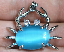 Blue sea Opal  White Silver Plated Crystal Crab Pendant & Necklace 18KGP