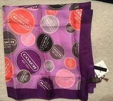 Coach New Gallery Button Neck Signature 100% Silk Scarf - NWT