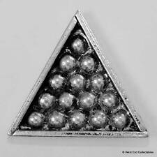 Snooker Rack Triangle Pewter Pin Brooch -British Hand Crafted- Pool Balls Cue