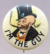 1910 Bud Fisher Mutt & Jeff I'M THE GUY Hassan Cigarette pinback button *