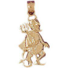 NEW 14k YELLOW GOLD DEVIL WITH PITCH FORK HALLOWEEN CHARM PENDANT JEWELRY