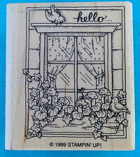 """Stampin' Up! rubber stamp, HELLO, bird perched on window, 2"""" x 2¼"""" wood block"""
