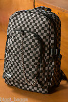 BLACK & GREY CHECK BACKPACK RUCKSACK Checker Goth Skate School College CHOK Bag