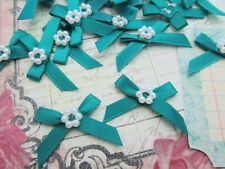 60 Satin Ribbon Bow Pearl Bead Flower Applique/Trim/Sew/Craft F24-Emerald Green