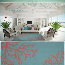 Tropical Coral Teal Area Rug Carpet Coastal Beach Ocean Sea Modern Decor