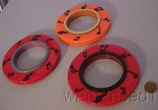 French set 3 big thick saucer PLASTIC LP RECORD BANGLE BRACELETS musical notes
