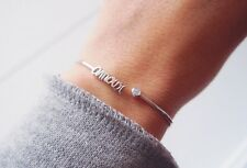 Bracelet, Jonc plume, amour - Argent 925 - Neuf - Love silver sterling bangle