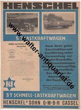 Henschel & Sohn Kassel LKW Lastkraftwagen Große Werbeanzeige anno 1926 Reklame
