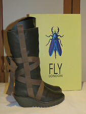 FLY LONDON YASU GREEN LEATHER PLATFORM WEDGE KNEE HIGH BOOTS UK 4 EU 37 RRP £145