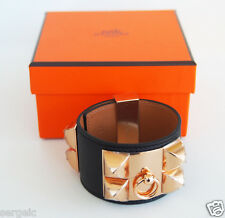 New Authentic HERMES CDC Collier de Chien BLACK Epsom Rose Gold Hardware S
