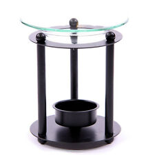 NEW BLACK METAL WITH GLASS DISH OIL BURNER 11cm OB125
