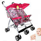 New Baby Pram Double Twin Stroller Umbrella Pushchair Foldable Lightweight Buggy
