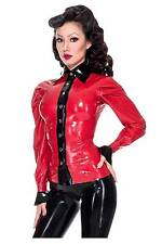 R968 Rubber Latex Blouse shirt size 10 PEARLSHEEN RED/Black Westward Bound