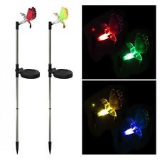 Pack of 2 Solar Fiber Optic Color-Changing Hummingbird Garden Stake Light Decor