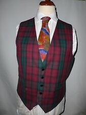 MENS PURE WOOL TARTAN  WAISTCOAT SIZE UK L FITS UK 42 BRITISH MADE