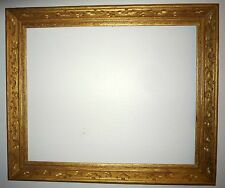 "Large Rustic Gold Painted Wood Carved Picture Frame 39"" x 33"" 1940-1950 Newcomb"