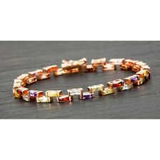 EQUILIBRIUM JEWELLERY ROSE GOLD PLATED STEP STONES BRACELET MULTI COLOUR