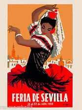 1959 Feria de Sevilla Seville Spain Spanish Vintage Travel Advertisement Poster
