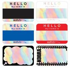 VINYL, HOLOGRAPHIC STICKER PACK - 150 STICKERS IN A CARD BOX - HELLO MY NAME IS