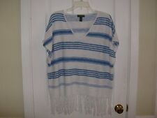 **Chic RALPH LAUREN Jeans Company Linen/Cotton FRINGED SWEATER TOP- Size XL