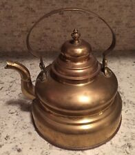 Antique Brass Hand Crafted Large Tea Kettle Water Pot Coffee 1900s Bell Shaped