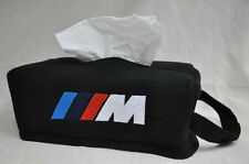 Black Car Seat Tissue Box Cover Holder Case w/ Embroidery BMW M M3 M5 Power Logo