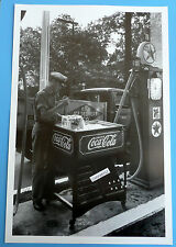 """12 By 18"""" Black & White Picture Vintage Coke Dispencer At Texaco Gas Station"""