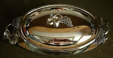 GODINGER SILVER PLATED 3 PIECE COVERED CASSEROLE DISH TRAY GRAPE DESIGN