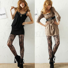 High Quality Black Sexy Women Ladies Fishnet Rose Flower Lace Pantyhose Tights