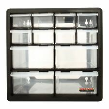 BLACK 12 DRAWER MULTI ORGANISER NAIL BOLT SCREW CRAFT BITS TOOLS STORAGE CABINET