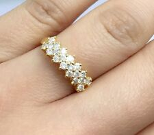18k Solid Yellow Gold Three Rows Band Ring With Diamond 0.70CT, Size 6.75