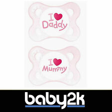 MAM Style Dummies Soother Baby Birth 0+ 2 Pack I Heart Mummy & Daddy Pink BNIP