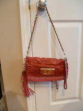 GUESS Dianne Hot Pink Eco-Leather Wristlet Clutch with gold studs
