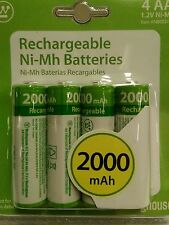 4X AA WESTINGHOUSE RECHARGEABLE BATTERIES 2000 mAh 1.2V Ni-Mh