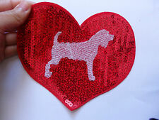 large red love dog heart patch sequin applique motif iron on sew on 16 x 14cm UK