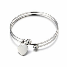 Smooth spring spiral Bangle stainless steel Heart Tag Charm Bracelet Women gifts