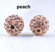 Wholesale 100 Pcs Cz Crystal Shamballa Beads Pave Disco Balls Champagne 10MM