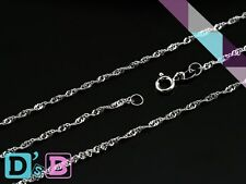 "Shining 20"" 925 Sterling Silver Singapore Wave Necklace Chain .925 Fine Jewelry"